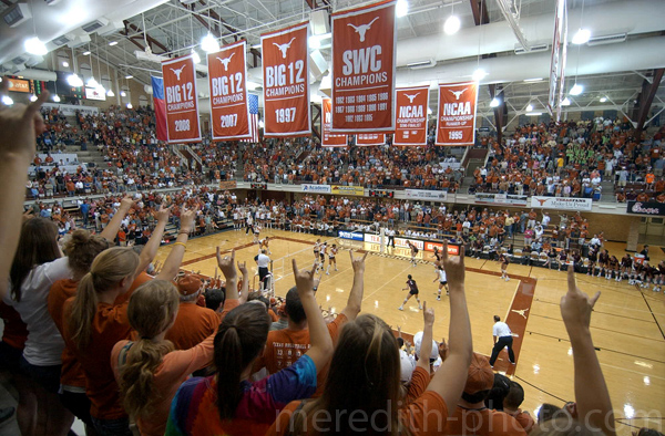 A crowd of 4229 fans pack into Gregory Gymnasium in Austin to watch the Texas Longhorn volleyball team take on Texas A&M on Wednesday.